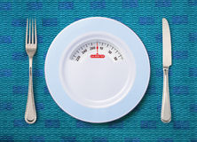 Plate with weighing scale Stock Photo