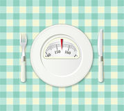 Plate with a weight balance scale. Diet concept. Stock Photo