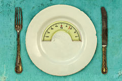 Plate with a weight balance scale. Diet concept Royalty Free Stock Photo
