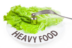 Plate with weight. Concept of heavy food. Plate with fork and weight. Concept of heavy food. White background Royalty Free Stock Photo