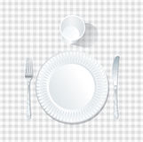 Plate white tablecloth Stock Photography