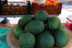 Whole fresh avocados on a plate at the farmer's market. Fresh whole avocados at the market stock image