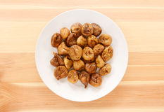 Plate of whole soft dried figs Royalty Free Stock Photo
