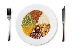 Plate With Different Cereals And Garnish Isolated On White. Stock Images