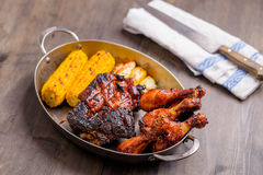 Plate With Mixed Bbq Pork Royalty Free Stock Photo