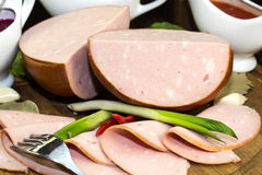 Plate With Sausage Stock Photo