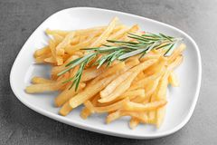 Plate with yummy french fries Royalty Free Stock Images