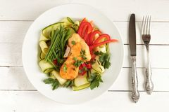 Plate with zucchini and chicken Royalty Free Stock Image