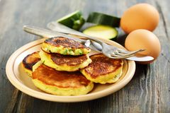 Plate with Zucchini fritters Stock Photos