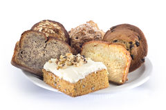 plateau assorti de pain et de gâteau Photos stock