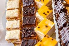 Plateau avec les gâteaux assortis Photographie stock libre de droits