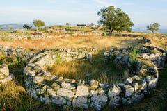 Plateau Citania de Sanfins Portugal. Paços de Ferreira, Portugal - October 19, 2014 : Citânia de Sanfins, located on a plateau, in a summit position that gave stock photography