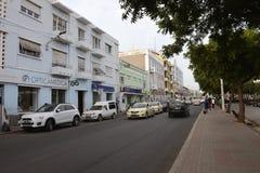 Plateau - City of Praia, Cape Verde Capital, Santiago Island. In this photo: Plateau main street. Urban center of Praia Stock Photography
