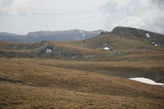 Plateau of the Crimean mountains. With snow spots Royalty Free Stock Photo