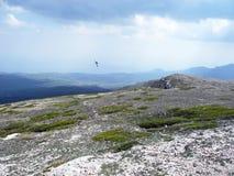 Plateau de montagne avec la traînée, oiseau de vol Montagnes criméennes photos libres de droits