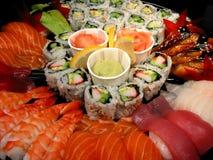 Plateau de réception de sushi, plan rapproché photographie stock