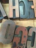 Plateau de vintage de type en bois d'impression typographique photo stock