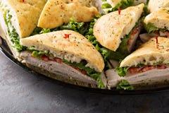 Plateau des sandwichs à dinde Images libres de droits