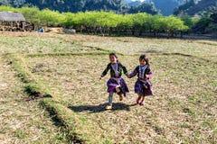 PLATEAU di MOC CHAU, VIETNAM - 5 febbraio 2014 - gioco etnico non identificato dei bambini Fotografia Stock