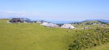 Plateau di planina di Velika, Slovenia, paesino di montagna in alpi, case di legno nello stile tradizionale, escursione popolare Fotografie Stock
