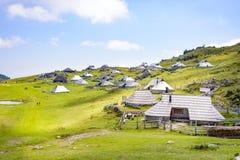 Plateau di planina di Velika, Slovenia, paesino di montagna in alpi, case di legno nello stile tradizionale, escursione popolare Fotografia Stock