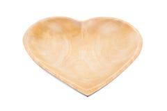 Plateau en bois avec des formes de coeur Images libres de droits