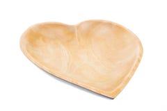 Plateau en bois avec des formes de coeur Photos libres de droits