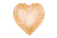 Plateau en bois avec des formes de coeur Photos stock