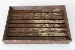 Plateau en bois d'isolement sur le blanc Photographie stock