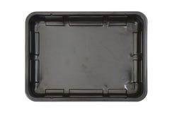 Plateau en plastique noir de nourriture de rectangle images libres de droits