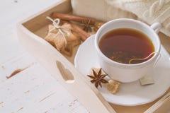 Plateau et chandail de thé Images stock
