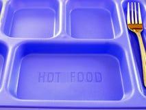Plateau et fourchette de nourriture d'école photographie stock libre de droits