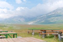 Plateau of Fonte Vetica, Camping area, Abruzzo, Italy Stock Photography