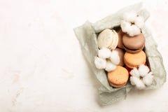 Plateau français traditionnel de biscuits de dessert de macarons de canneberge de chocolat de caramel d'amande sur le fond textur Image stock