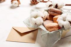 Plateau français traditionnel de biscuits de dessert de macarons de canneberge de chocolat de caramel d'amande sur le fond textur Photographie stock libre de droits