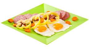 Plateau with fried eggs Royalty Free Stock Image