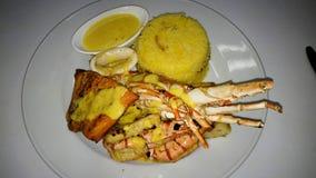 Plateau grillé délicieux de fruits de mer avec de la sauce à beurre de citron photos libres de droits