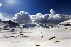 Plateau and lake covered snow at spring day Stock Image