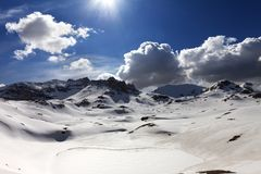 Plateau and lake covered snow Royalty Free Stock Images