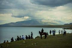 The plateau lakes - Sailimu of China's Xinjiang. China's Xinjiang plateau lakes, the lake elevation of 2071.9 meters Sailimu Royalty Free Stock Photography