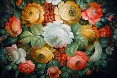 Plateau noir peint avec les configurations florales. Images libres de droits
