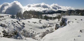 Plateau panorama Ah-petri in the winter Royalty Free Stock Photos