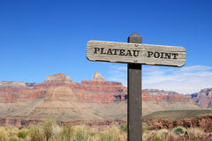 Plateau Point sign. Plateau Point trail sign in the Grand Canyon royalty free stock photo