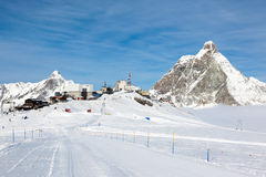 Plateau Rosa in Cervinia ski resort: the highest skiable slope i Stock Photo