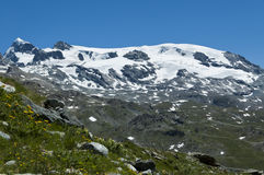 Plateau Rosa glacier - Aosta Valley. Panoramic view of the glacier Plateau Rosa, Aosta Valley - Italy stock image