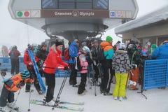 Plateau Rosa. The opening of the ski season at the Rosa Khutor Stock Image