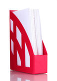 Plateau rouge pour des papiers Image libre de droits