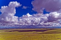 Plateau scenery. The plateau scenery under the blue sky and white clouds Royalty Free Stock Photography