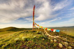 On the plateau of Scripture flag stupa Royalty Free Stock Photo
