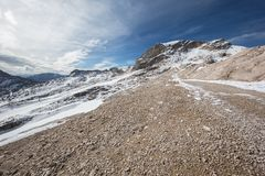 A plateau with snow and gravel Stock Photos